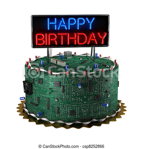 Birthday Cake for Geeks - csp8252866