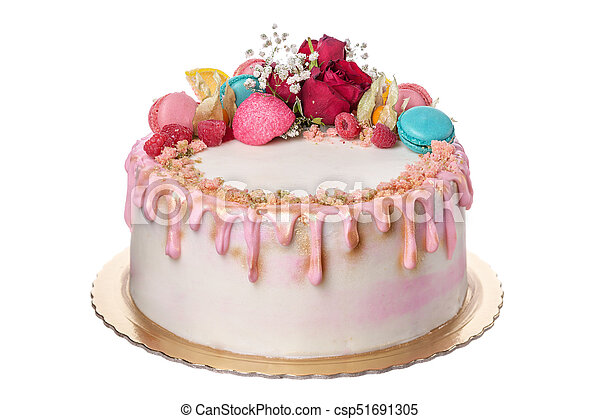 Peachy Birthday Cake For The Girls Birthday On A White Background A Funny Birthday Cards Online Inifofree Goldxyz