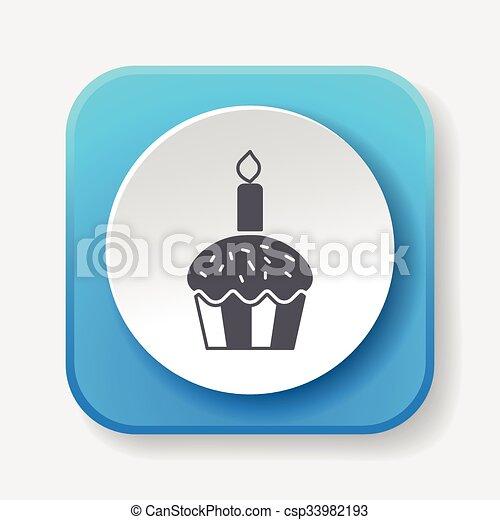 birthday cake icon - csp33982193