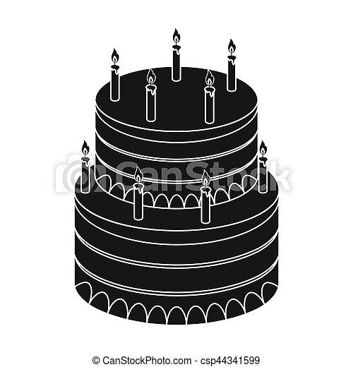 Birthday Cake Icon In Black Style Isolated On White Background