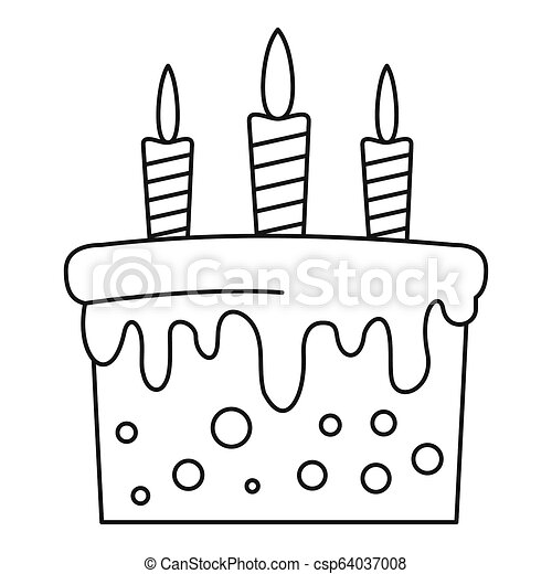 Peachy Birthday Cake Icon Outline Style Birthday Cake Icon Outline Funny Birthday Cards Online Kookostrdamsfinfo