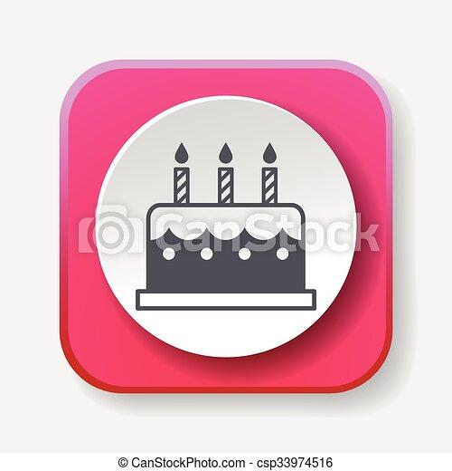 birthday cake icon - csp33974516