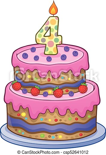 Birthday Cake Image For 4 Years Old Eps10 Vector Illustration