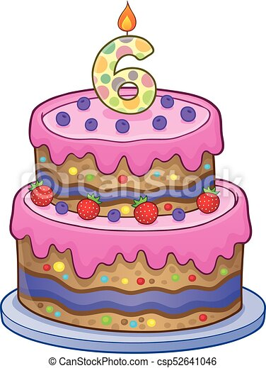 Birthday Cake Image For 6 Years Old Eps10 Vector