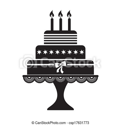 Vector illustration of black silhouette birthday cake icon vectors