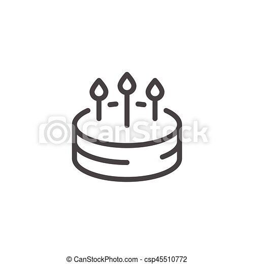Birthday Cake Line Icon Isolated On White Vector Illustration