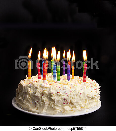 Birthday Cake On Black Cake On A Black Background With