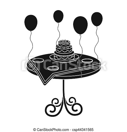 Birthday cake on the table icon in black style isolated on stock