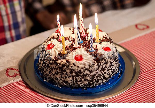 Wondrous Birthday Cake On The Table Small Birthday Cake On Plate Sweet Personalised Birthday Cards Paralily Jamesorg
