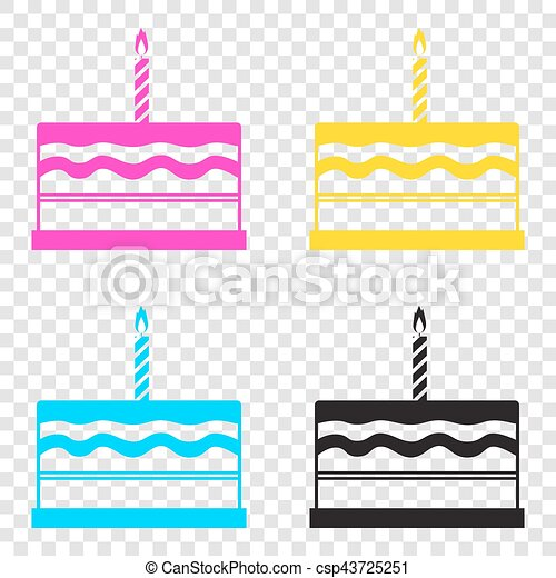 Birthday Cake Sign CMYK Icons On Transparent Background Cyan