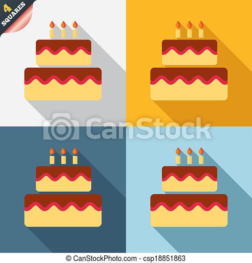 Birthday cake sign icon. Burning candles symbol - csp18851863