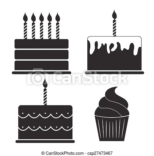 Birthday Cake Silhouette Set Vector Illustration - csp27473467