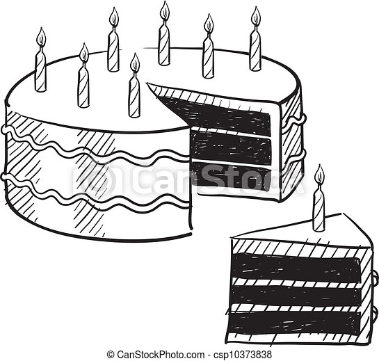 Birthday cake sketch doodle style birthday cake and cake birthday cake sketch vector sciox Image collections