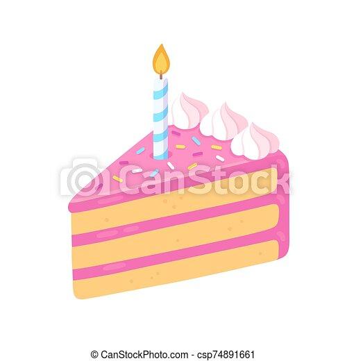 Fine Birthday Cake Slice With Candle Slice Of Birthday Cake With Personalised Birthday Cards Paralily Jamesorg