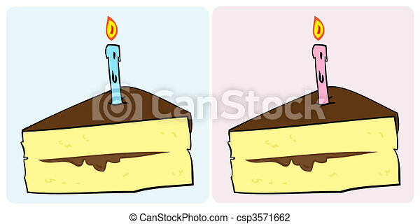 Birthday cake slice with candle. - csp3571662