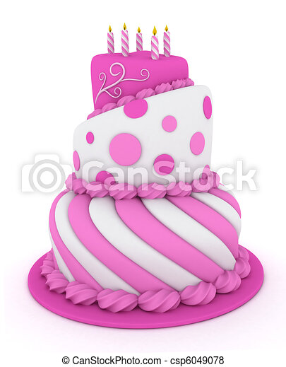 Stock Illustration of Birthday Cake 3D Illustration of a Pink