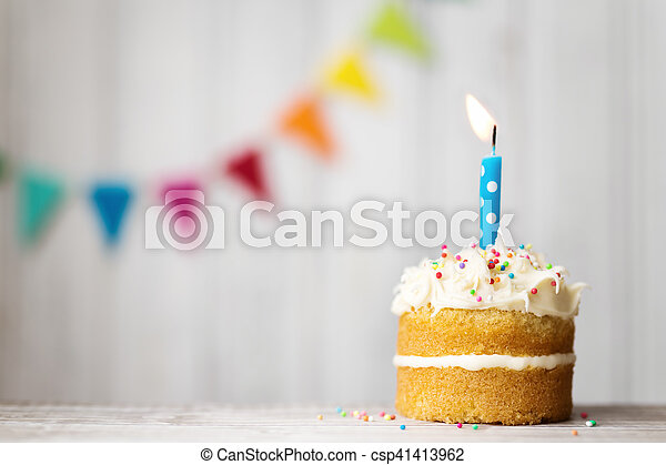 Birthday Cake Mini With A Single Candle