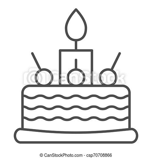 Fantastic Birthday Cake Thin Line Icon Sweet Vector Illustration Isolated Birthday Cards Printable Trancafe Filternl