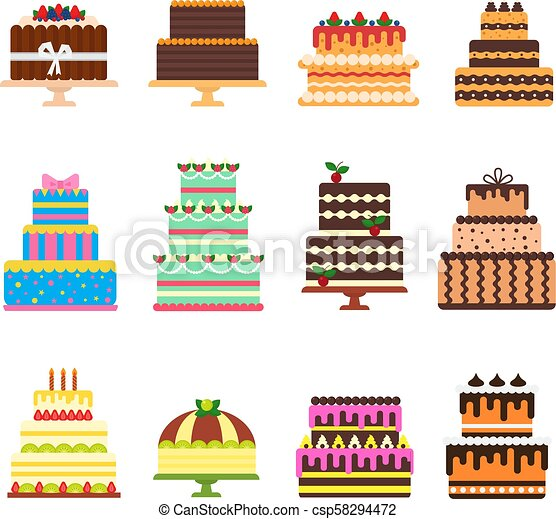 Birthday cake vector cheesecake cupcake for happy birth party baked chocolate cake and dessert from bakery set illustration isolated on white background - csp58294472