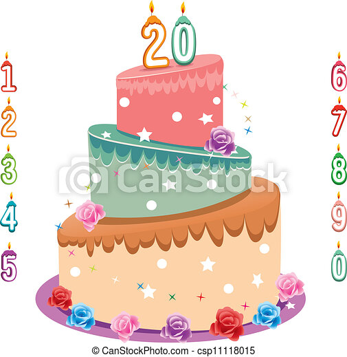 birthday cake Beautiful cake and digital candles isolated vector