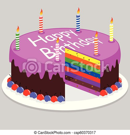 Surprising Birthday Cake Illustration Of A Delicious Rainbow Cake For A Funny Birthday Cards Online Alyptdamsfinfo
