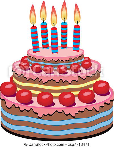 Vector birthday cake with burning candles vector clip art Search