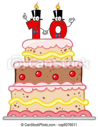 Birthday cake or wedding cake with number ten candles vector clip