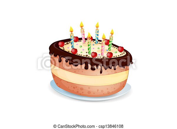 Birthday Cake Images Vektor ~ Birthday cake isolated on white vector clipart search