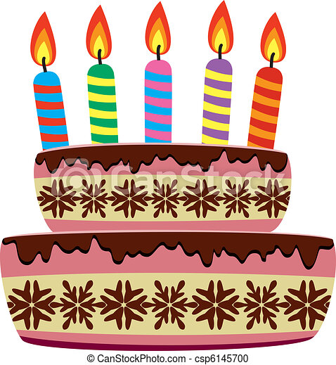 Vector birthday cake with burning candles vector clipart Search