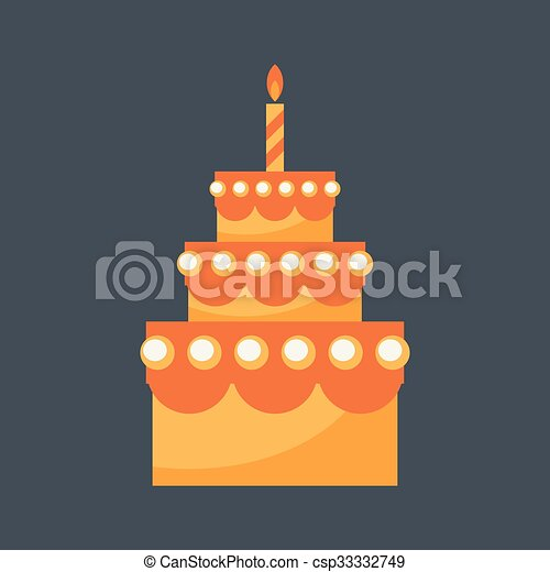 Birthday cake vector Birthday cake with candle isolated on eps