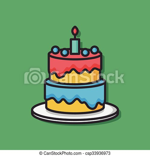 Birthday cake vector icon vectors illustration Search Clipart