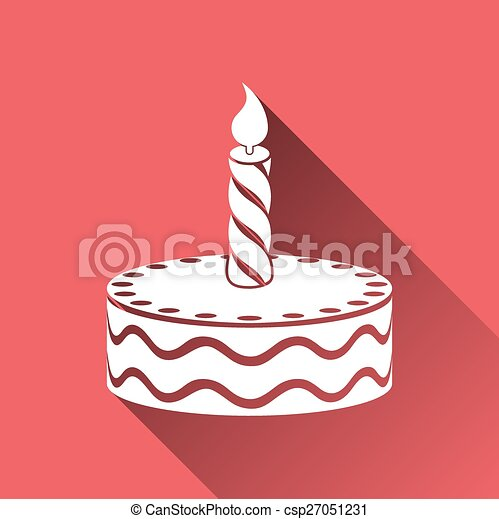 Birthday cake vector illustration Birthday cake with candle