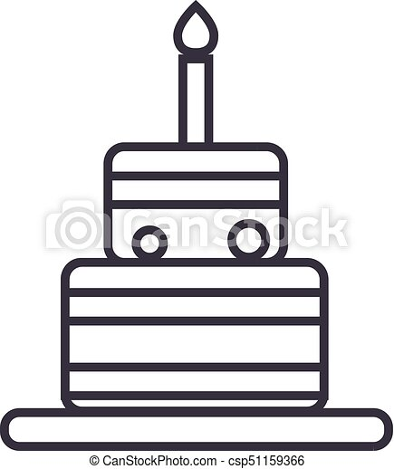 Birthday Cake Vector Line Icon Sign Illustration On Background