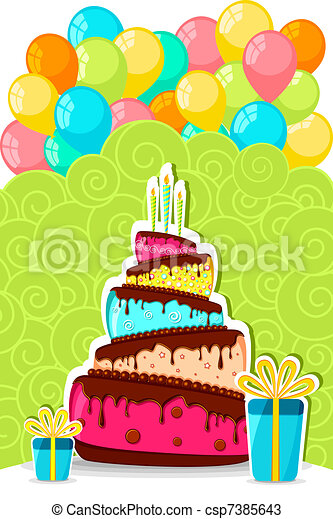 Birthday cake wit balloon Illustration of birthday cake vectors