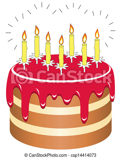Birthday cake with 7 candles Cake with 7 candles isolated