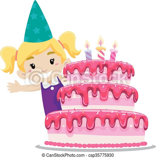 Birthday Cake with a Girl - csp35775930