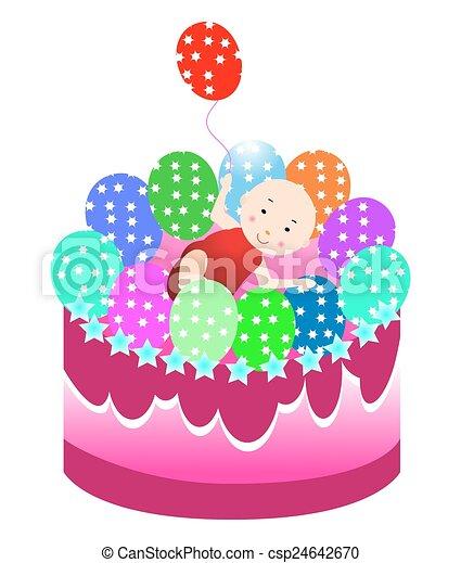 Birthday cake with baby  - csp24642670