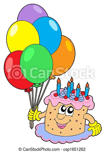 Birthday cake with balloons isolated illustration clip art