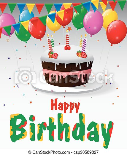 Astounding Vector Illustration Of Birthday Cake With Balloons And Confetti Funny Birthday Cards Online Elaedamsfinfo