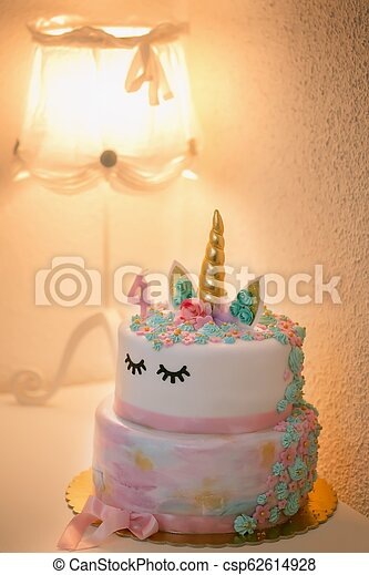 Birthday Cake With Burning Candle Number 4