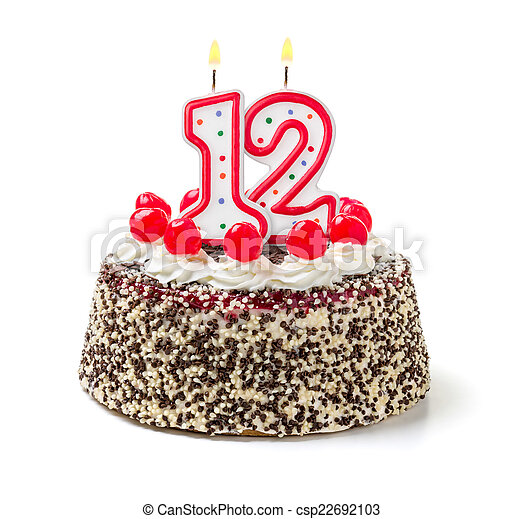 Remarkable Birthday Cake With Burning Candle Number 12 Personalised Birthday Cards Cominlily Jamesorg