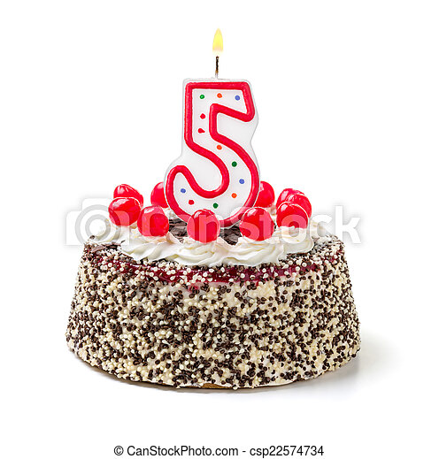 Birthday cake with burning candle number 5 - csp22574734