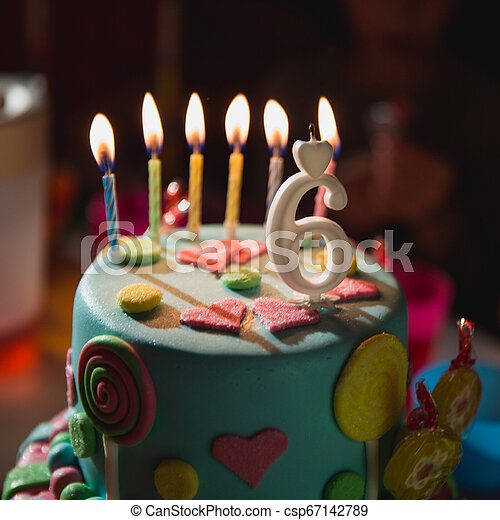Terrific Birthday Cake With Burning Candles And Age 6 Candle In The Dark Personalised Birthday Cards Veneteletsinfo