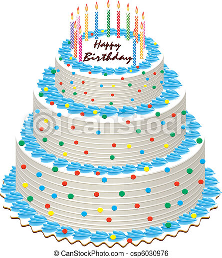 Big vector illustration of birthday cake with burning clip art