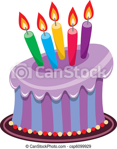 birthday cake with burning candles - csp6099929