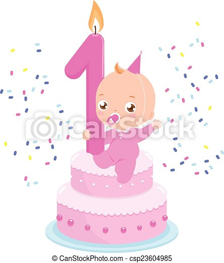 Birthday cake with candle and baby girl. Vector illustration - csp23604985