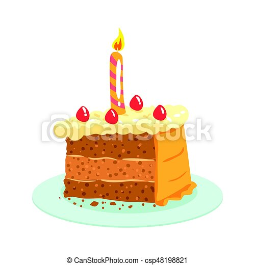 Birthday Cake With Candle Celebration Party Symbol Cartoon Vector