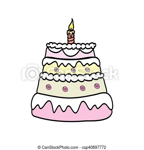 Birthday Cake With  Candle - csp40897772