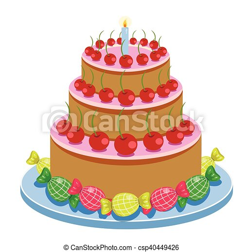 Birthday Cake With Candles And Candies Isolated On White Background Vector Illustration. - csp40449426