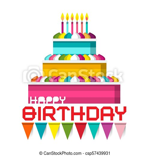 Birthday Cake with Candles and Colorful Flags. Vector Illustration. - csp57439931